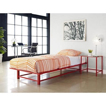 Parsons Twin Metal Ledge Platform Bed, Red
