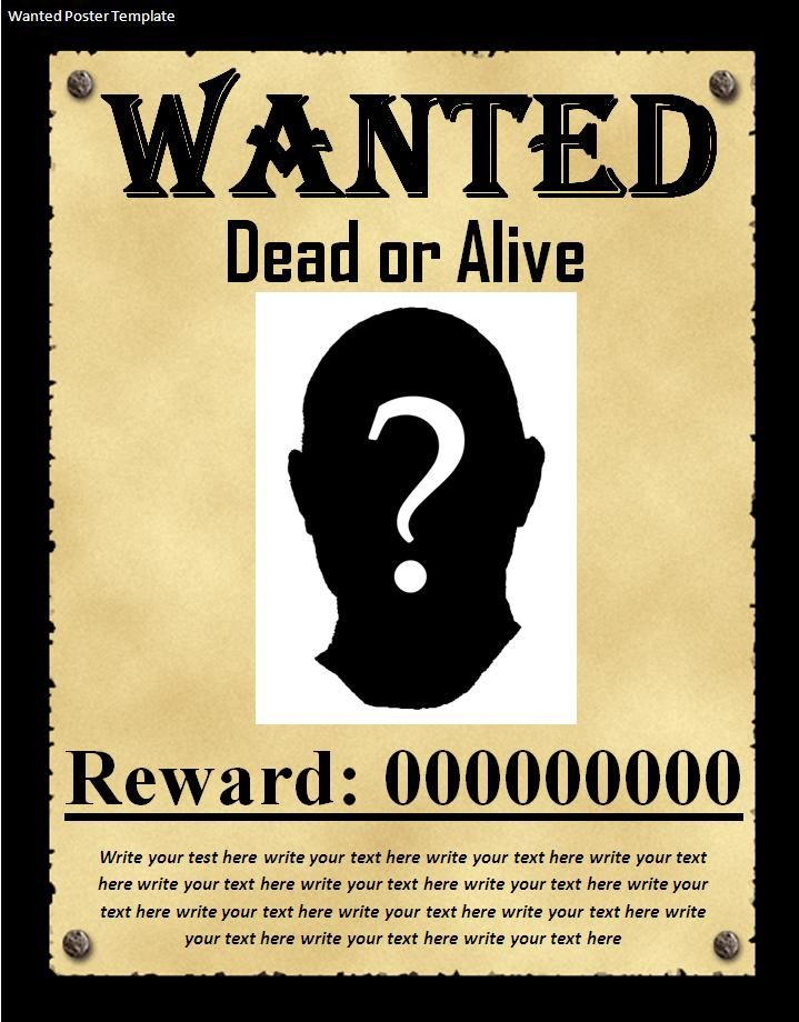 WANTED POSTER TEMPLATE | Click On The Download To Use This Wanted Poster  Template Absolutely .