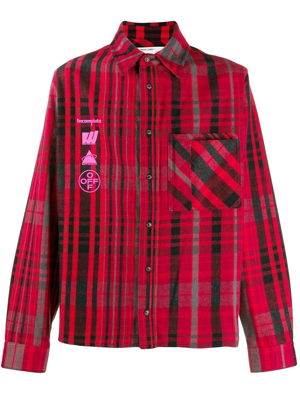 Mariana De Silva Checked Cotton Blend Flannel Shirt In Red Check Shirt Plaid Shirt Off White [ 1334 x 1000 Pixel ]