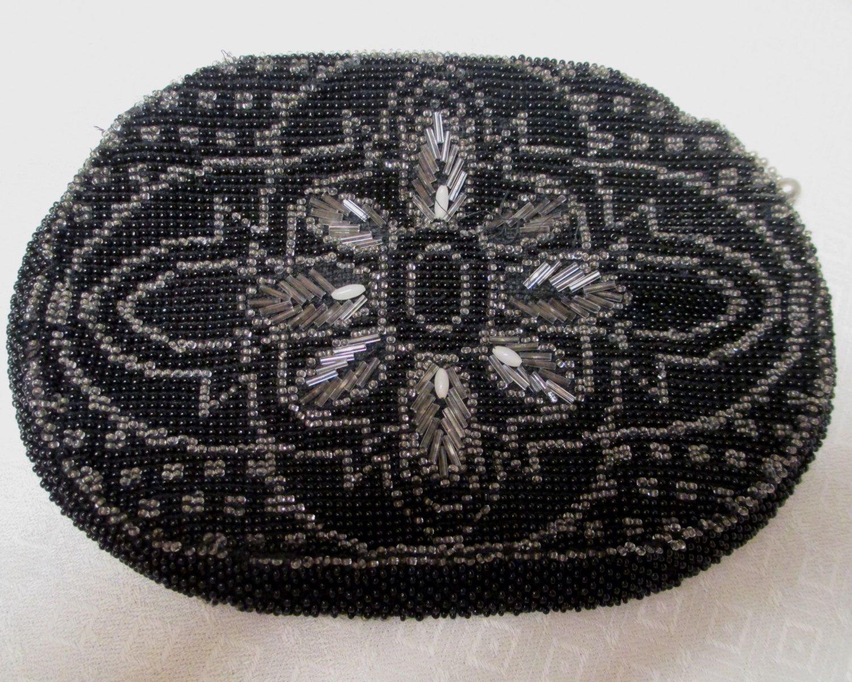 Czechoslovakia Clutch Black Glass Beaded Evening Handbag 1940s or 50s Formal Purse