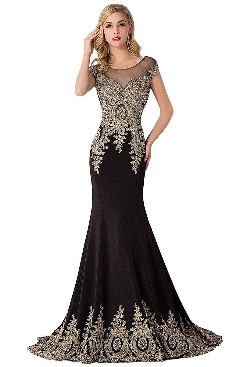 3181fda1ed1 Amazon.com  MisShow Women s Rhinestone Long Applique Trumpet Mermaid Evening  Prom Dresses  Clothing