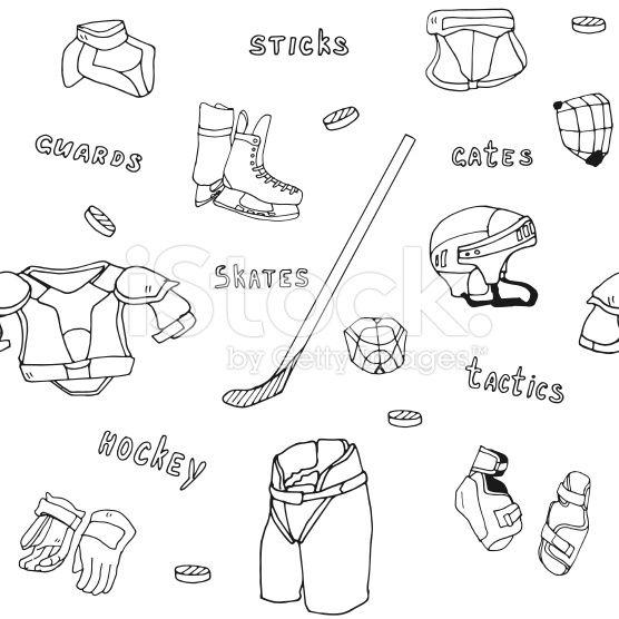 Seamless Pattern Ice Hockey Equipment Sport Icon Vector Handdrawn Ice Hockey How To Draw Hands Hockey