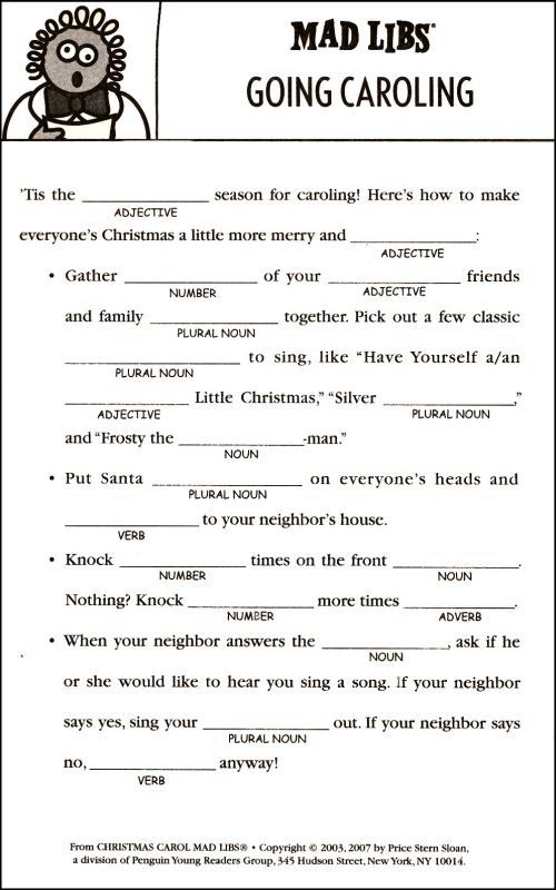 Christmas Mad Libs Writing And Learning Christmas Holidays