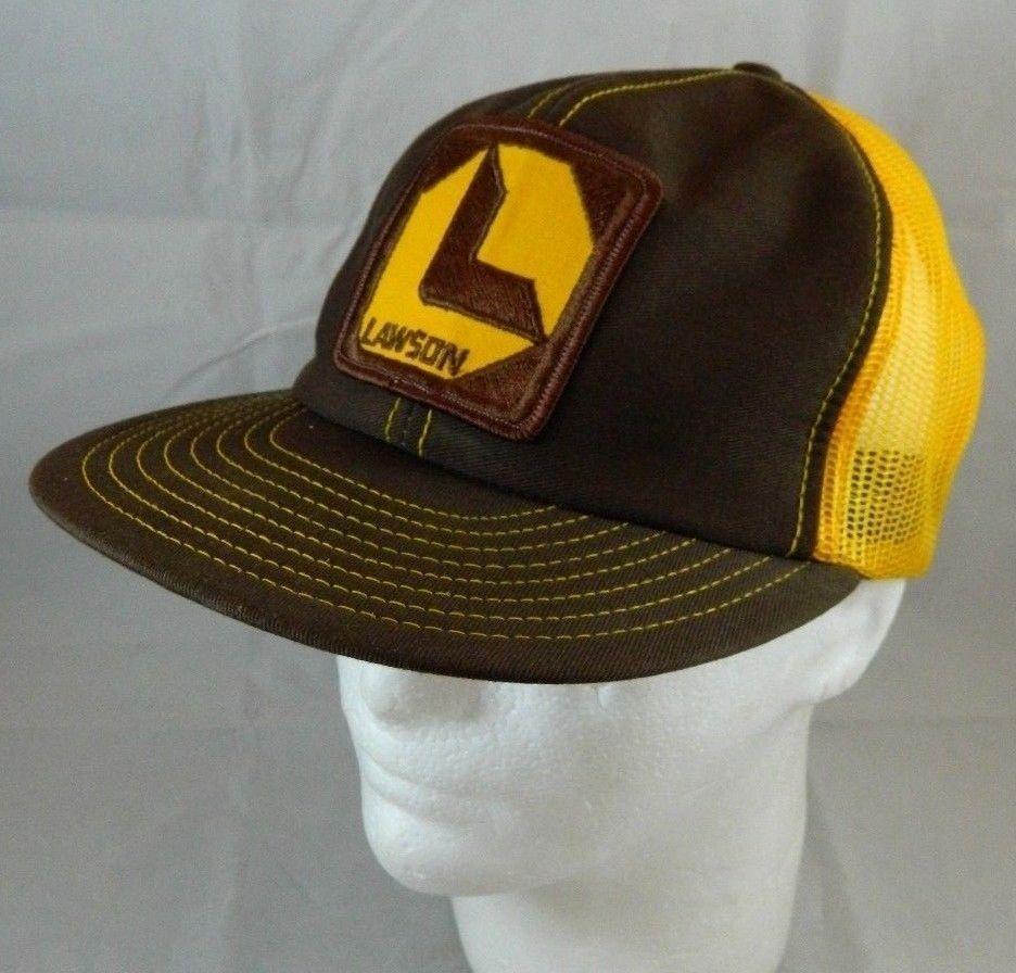 6d6fe9c356fcd7 Vintage Lawson Products Advertising Mesh Trucker Hat Brown & Yellow  Snapback Cap #LouisvilleMFG #TruckerHat
