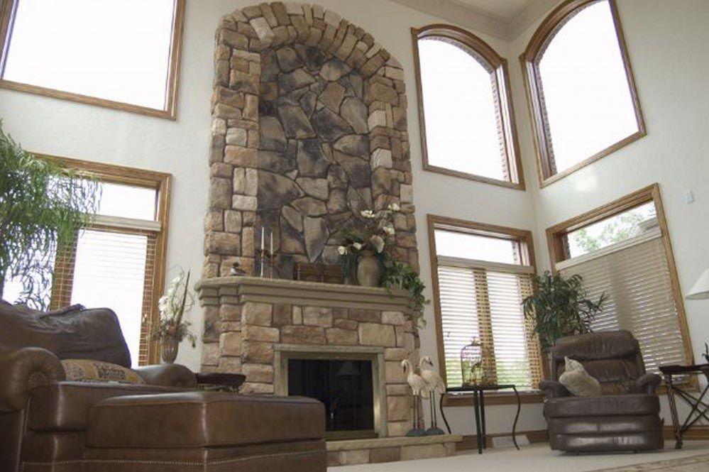 River Rock Veneer Fireplace | Rock veneer