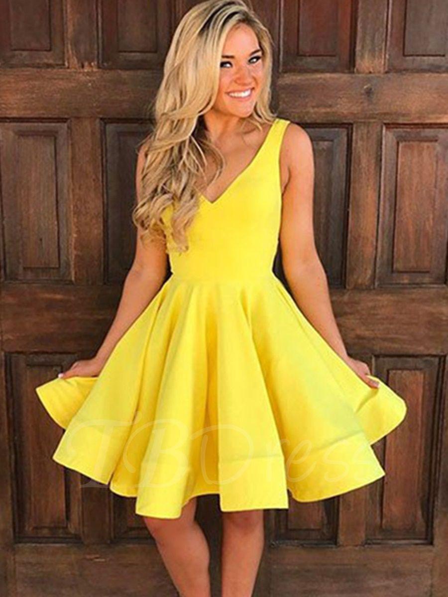 Aline vneck ruffles kneelength homecoming dress homecoming