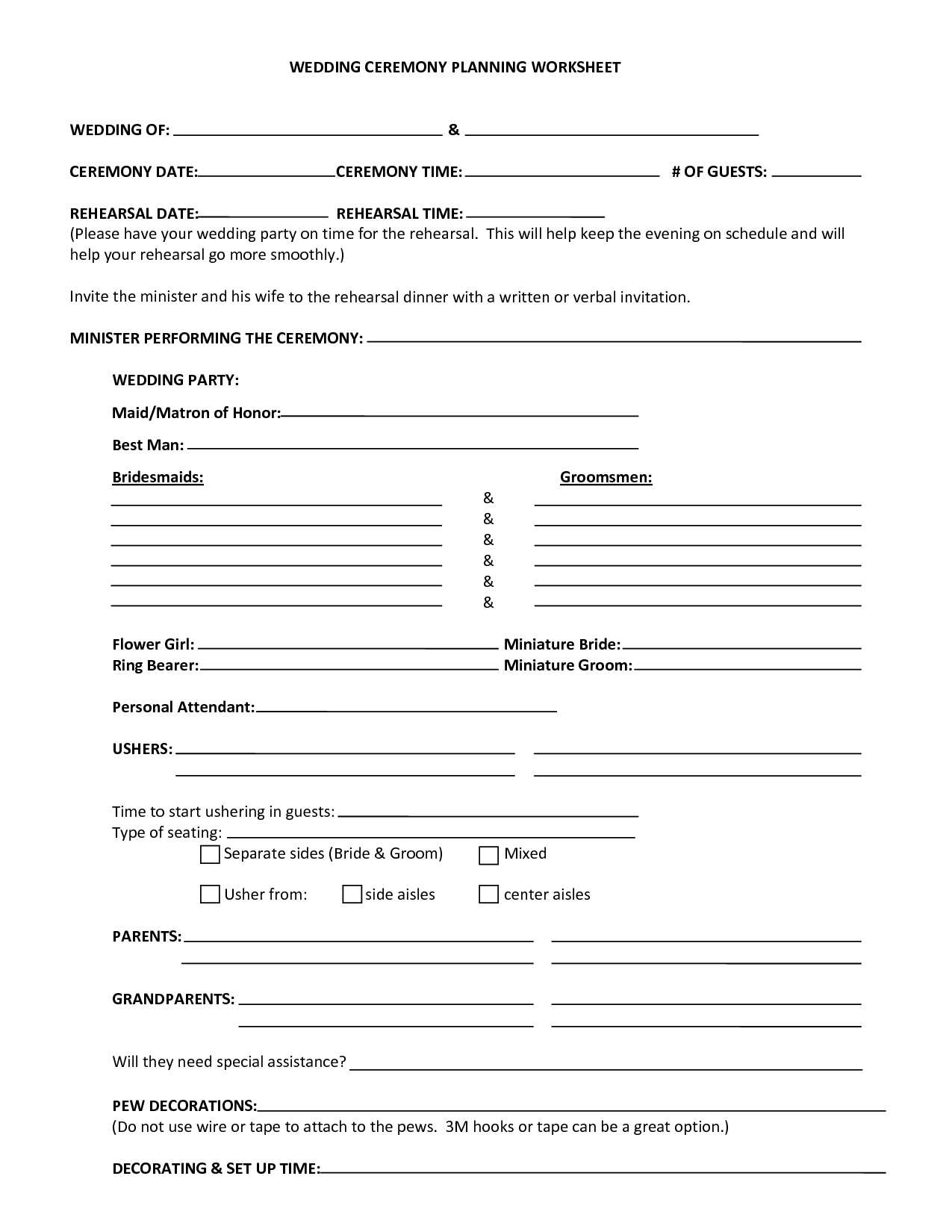 Wedding Ceremony Planning Worksheet Wedding Of