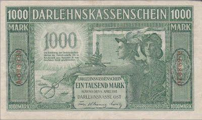 German ostmark - 1000 Mark banknote Darlehnskasse Ost ...