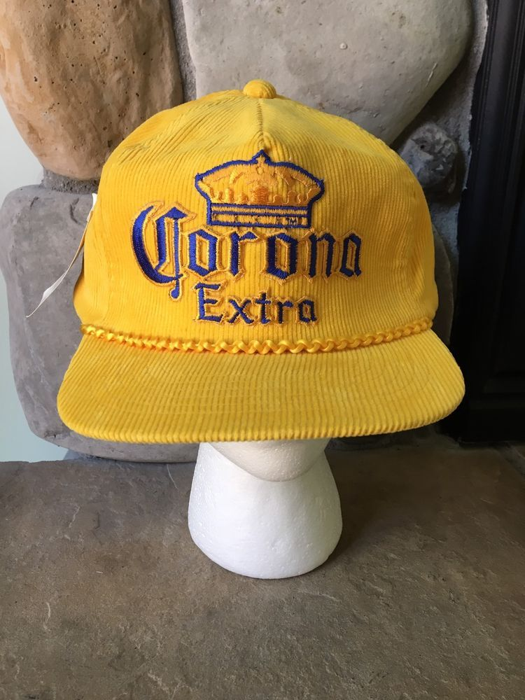 98cc08ca49e HTF Vintage CORONA EXTRA Corduroy Hat Cap Gold with Rope NOS New With Tags   Corona