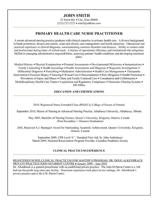 sample resume for family nurse practitioner