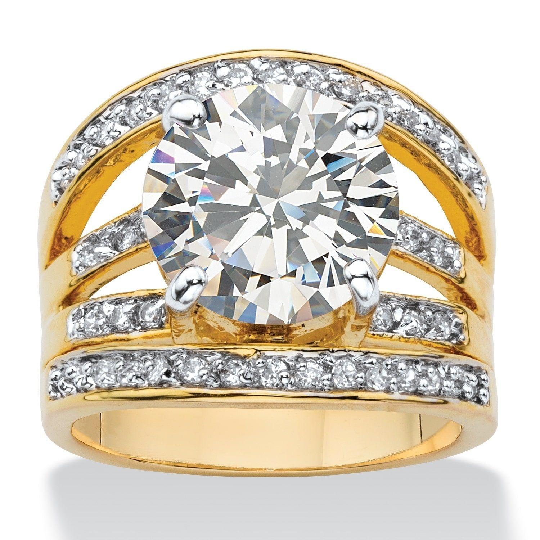 efe43e225 usa palm beach jewelry .55 tcw round cubic zirconia multi row engagement  ring 14k gold