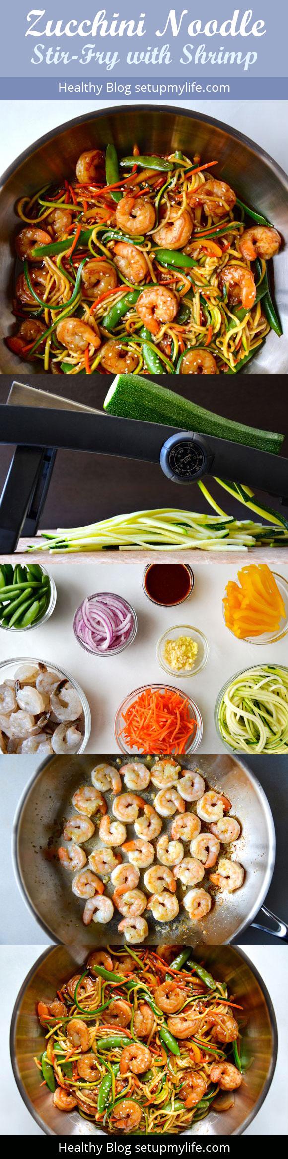 Asian Zucchini Noodle Stir-Fry with Shrimp! Healthy Blog http://setupmylife.com/ #recipe #shrimp #zucchininoodle,