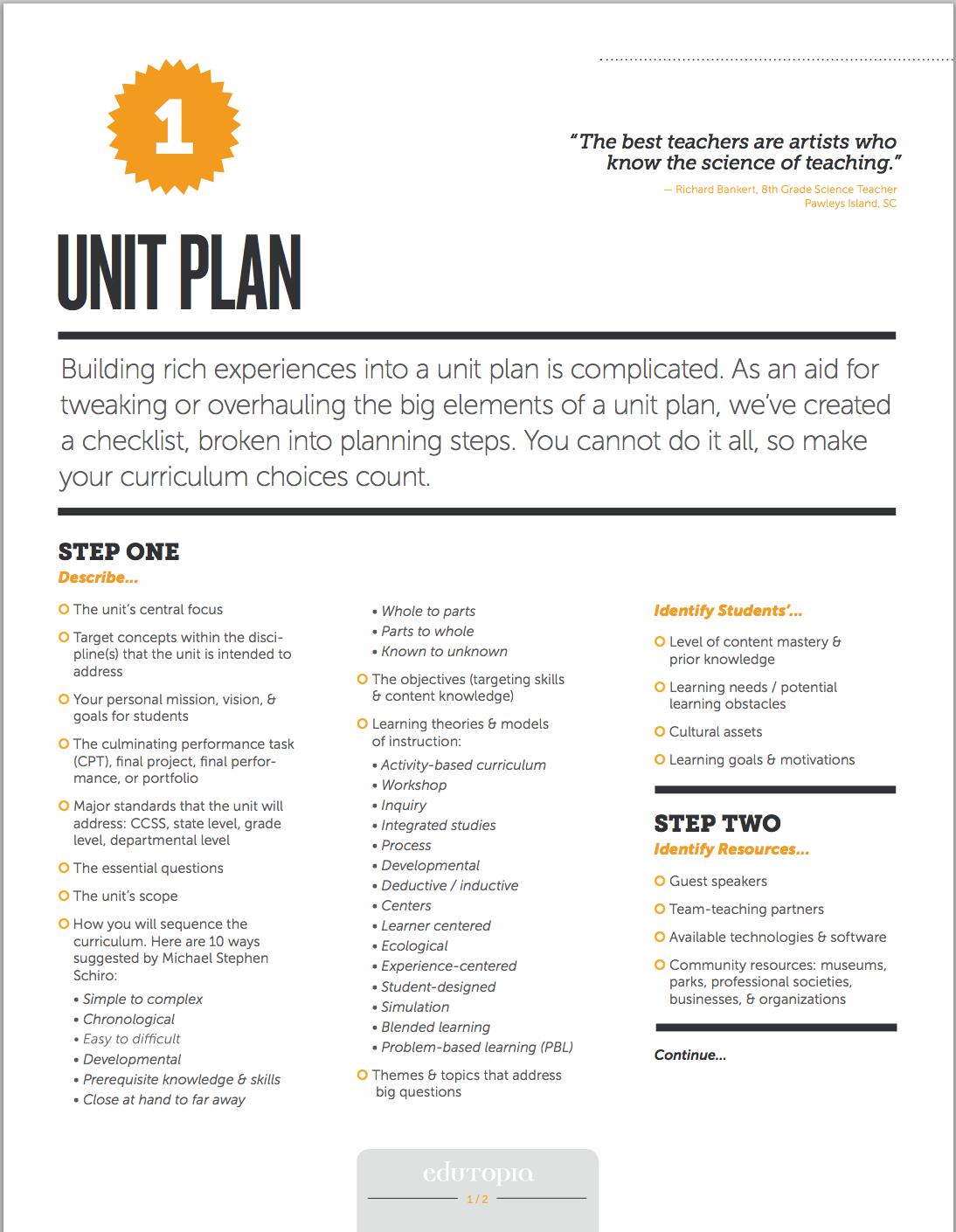 Unit Planning Checklist Classroom Pinterest Teaching Unit
