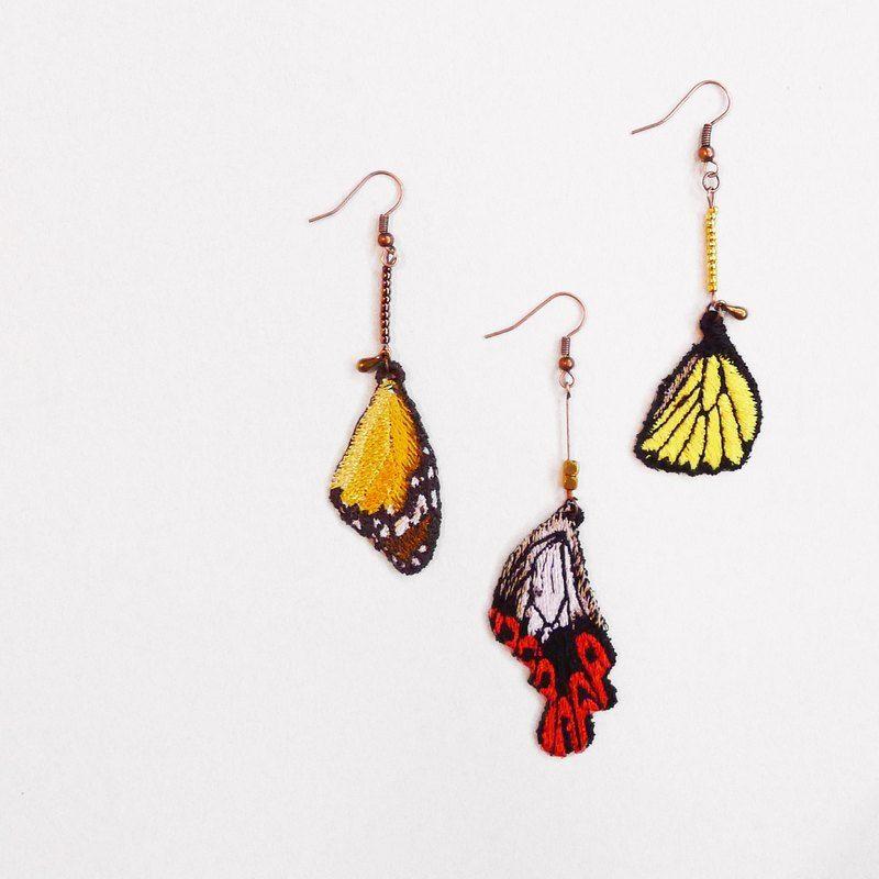 [織林]刺繡。蝶羽耳環 / 樺斑蝶、寬尾鳳蝶、珠光鳳蝶
