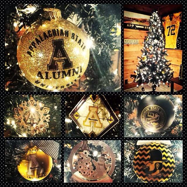 App State Christmas Tree I Finally Have Enough Asu Ornaments For An App Tree 92 And Counting State Christmas Tree Christmas Bulbs State Ornaments