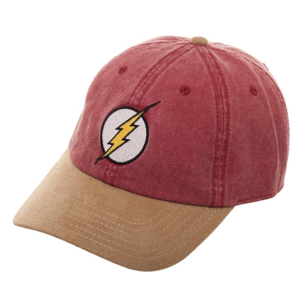 a0f81e3af81 The FLASH Embroidered Ball Cap Hat Suede Bill Faded Lightning Bolt Logo DC  Comic  Bioworld  CurvedBill