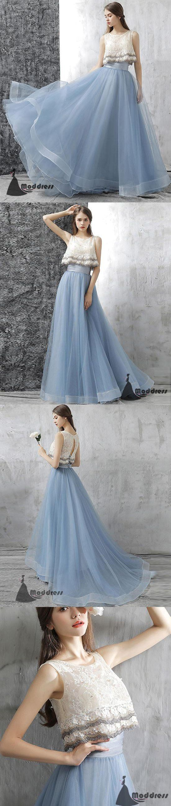 Cute two pieces long prom dress tulle homecoming dress blue evening