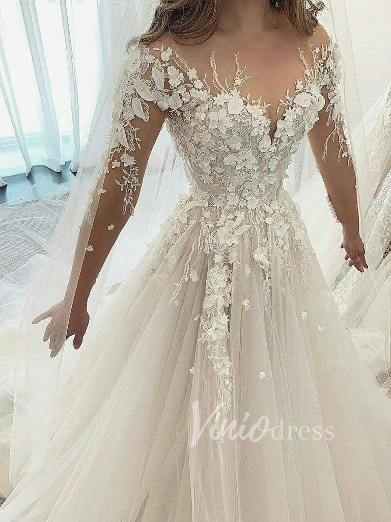 Long Sleeve Champagne Wedding Dresses With 3d Lace Appliques Vw1215 Wedding Dresses Beaded Wedding Dress Champagne Wedding Dress Long Sleeve [ 1024 x 768 Pixel ]