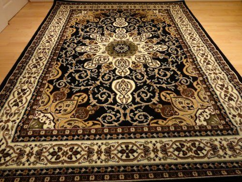 Large 8x11 Persian Style Rug Oriental Rugs Black Area 8x10 Carpet Living