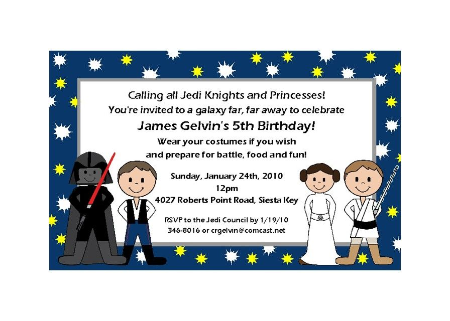 15 PERSONALIZED STAR WARS KIDS CHARACTER INVITATIONS \\/ Childrens ...