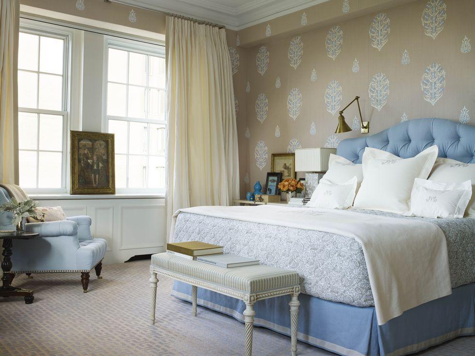22 Perfectly Patterned Bedroom Wallpaper Ideas With Images Modern Wallpaper Bedroom Bedroom Design Master Bedroom Wallpaper