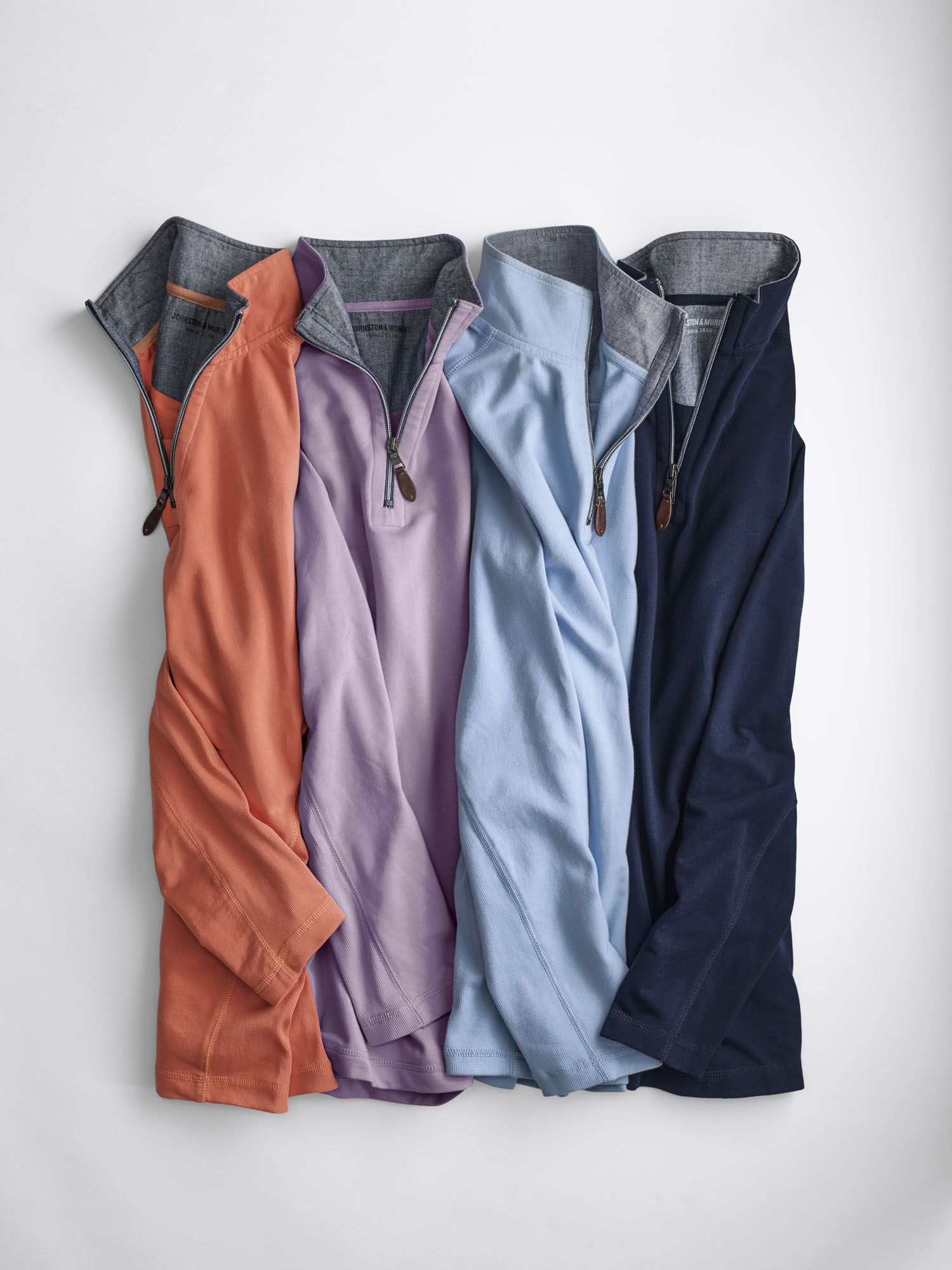 Quarter-Zip Pullover: Cotton-blend baby French terry is smooth outside, textured inside and washed for extra softness.