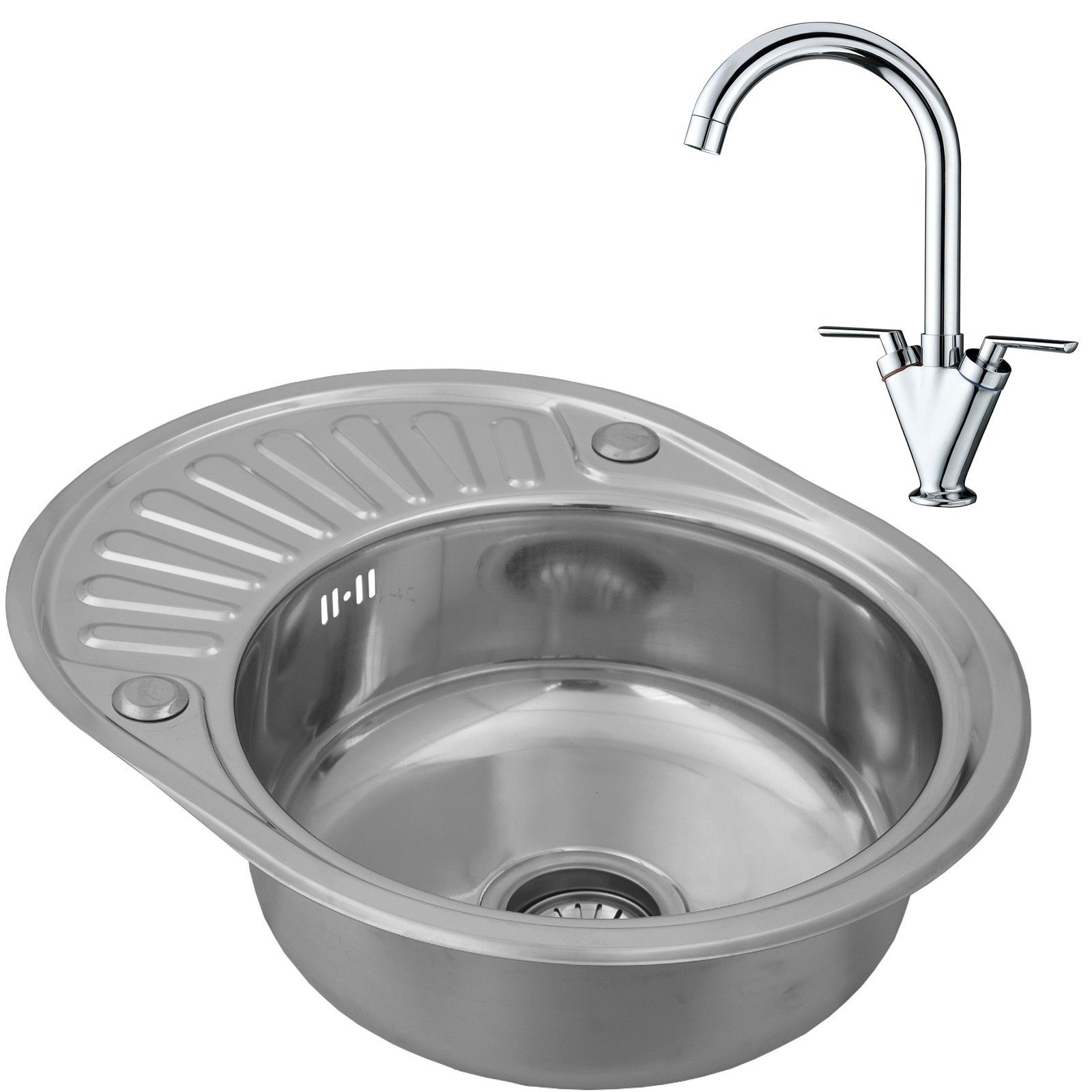 Compact Stainless Steel 1.0 Bowl Inset Round Kitchen Sink With Drainer And  Tap