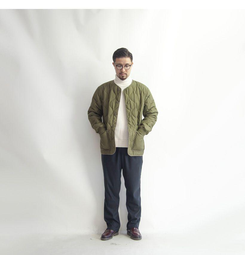 Laotour ナチュラルバリア ひょうたんキルティング ノーカラー中綿ジャケット メンズ Winter Jackets Jackets Normcore