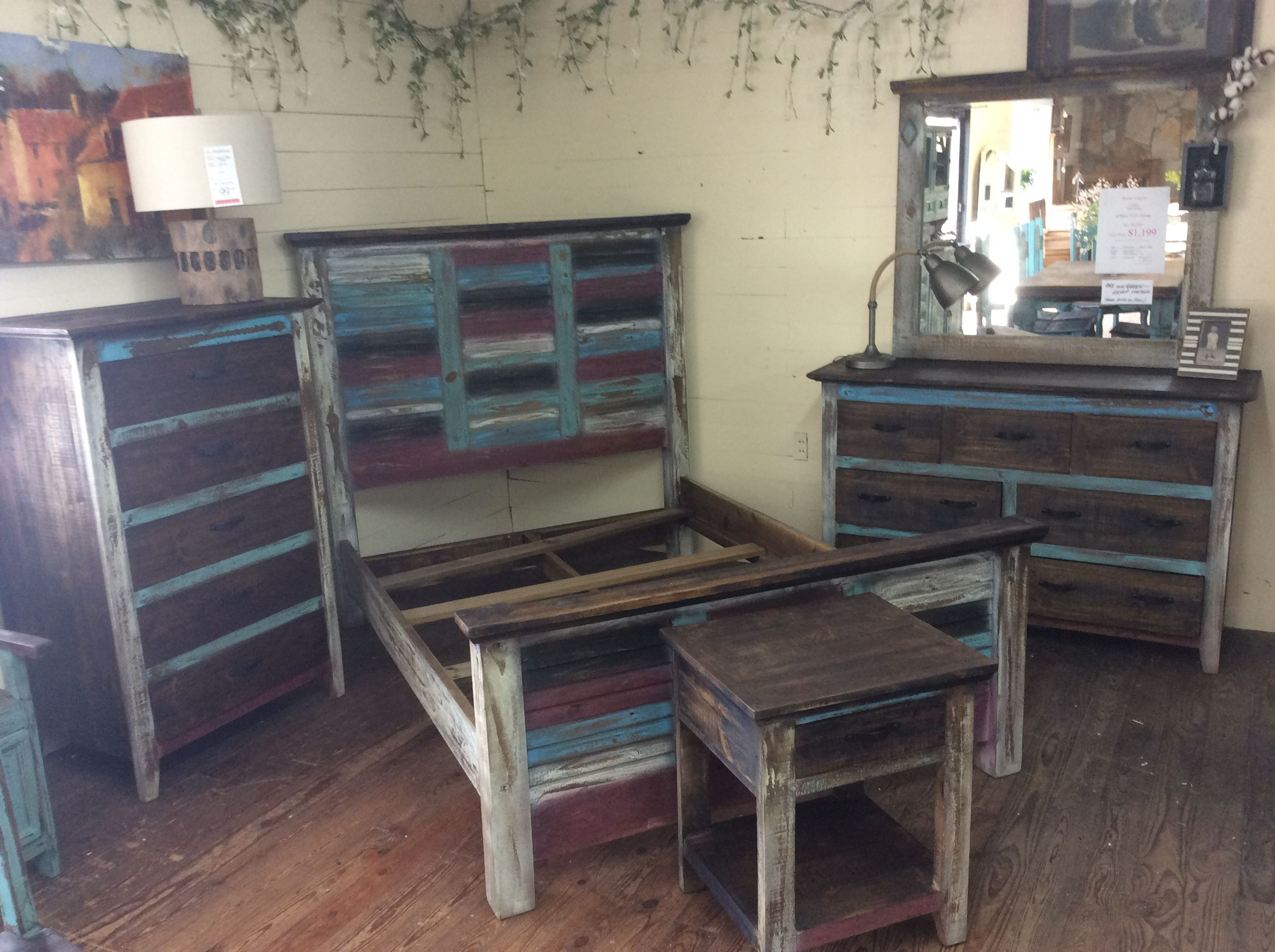 Rustic Canyon Multi Color Bedroom Suite Furniture Bed
