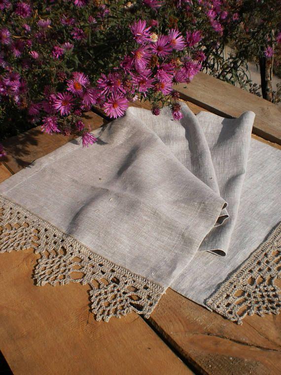 Linen table runners Crochet doily Lace tablecloth gray linen Wedding table runner Rustic table runner Wedding centerpiece