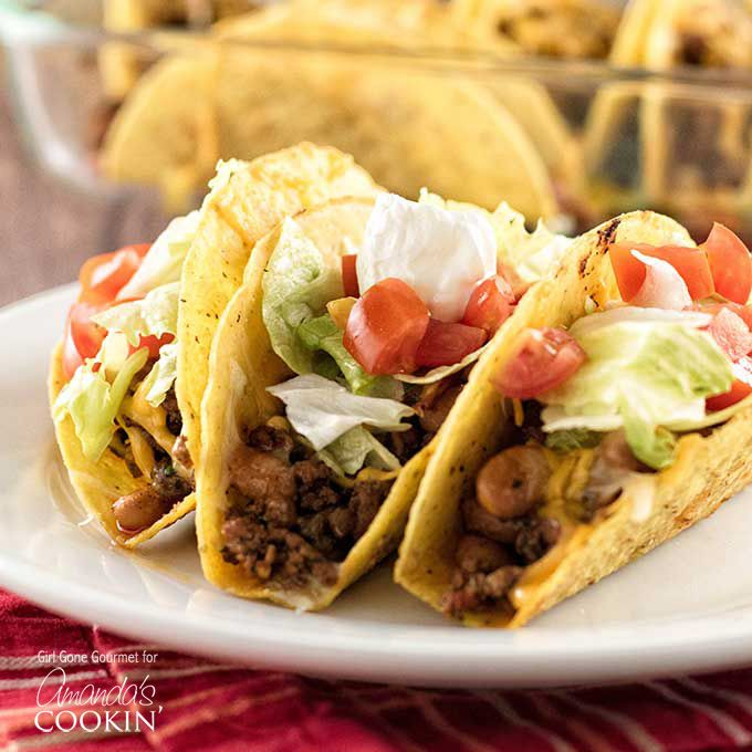 Oven Tacos: delicious beef and bean tacos baked in the oven!