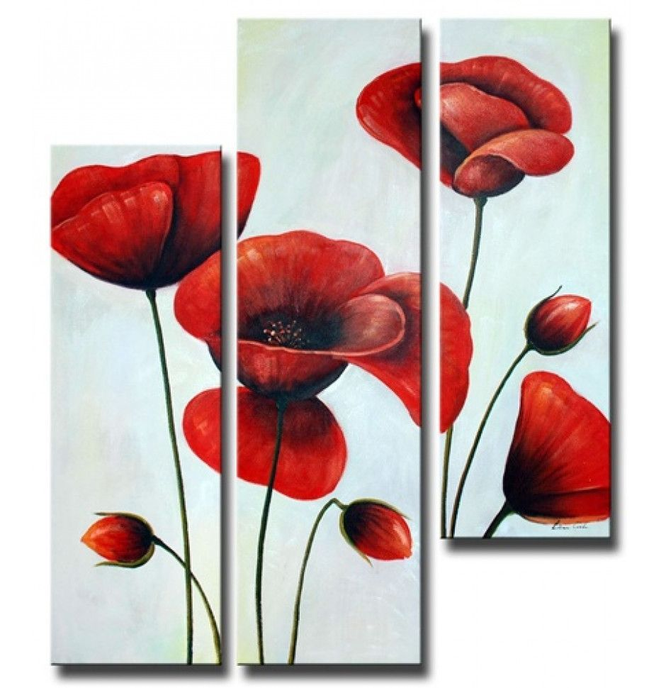 Ruby Red Poppies Canvas Wall Art H 60 X W 48 Metal Flower Wall Art Red Poppies Art Painting Oil