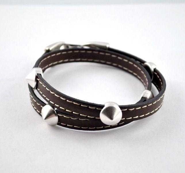 Wickelarmband aus Kunstleder mit Metallperlen von mia's dekostube auf DaWanda.com