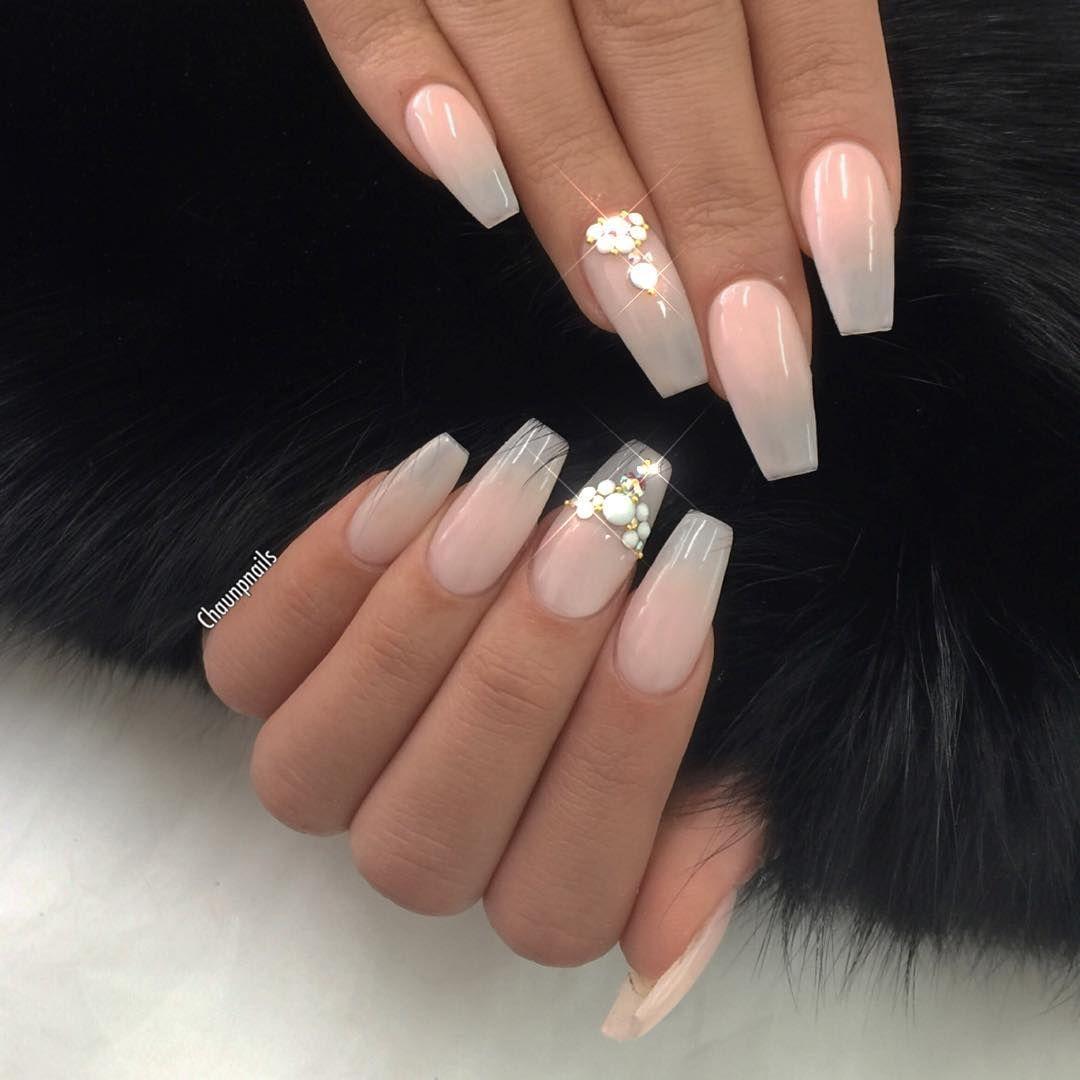 Jeweled sheer nude nails. #nails #nailart | Nail Art and Polish 2 ...