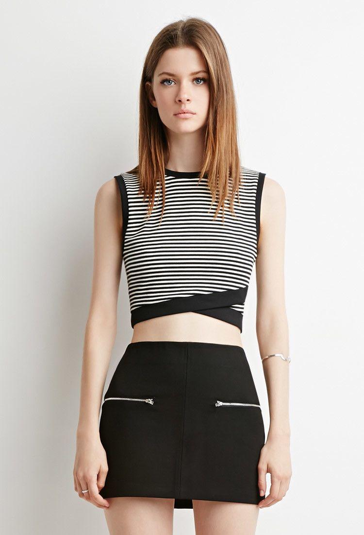 5c984ffd399 Striped Cross-Hem Crop Top | Clothing | Tops, Crop tops, Sleeveless ...