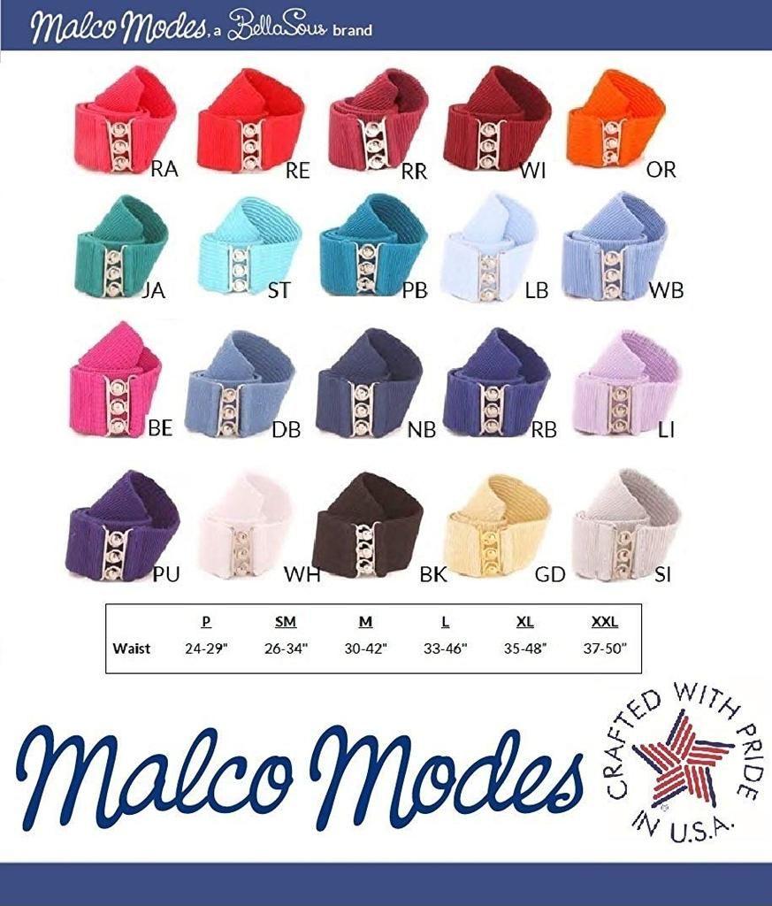 Malco modes wide elastic cinch thick waist belt stretch
