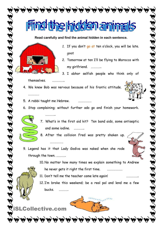 Find The Hidden Animals Worksheet Template Printable Worksheets Super Teacher Worksheets