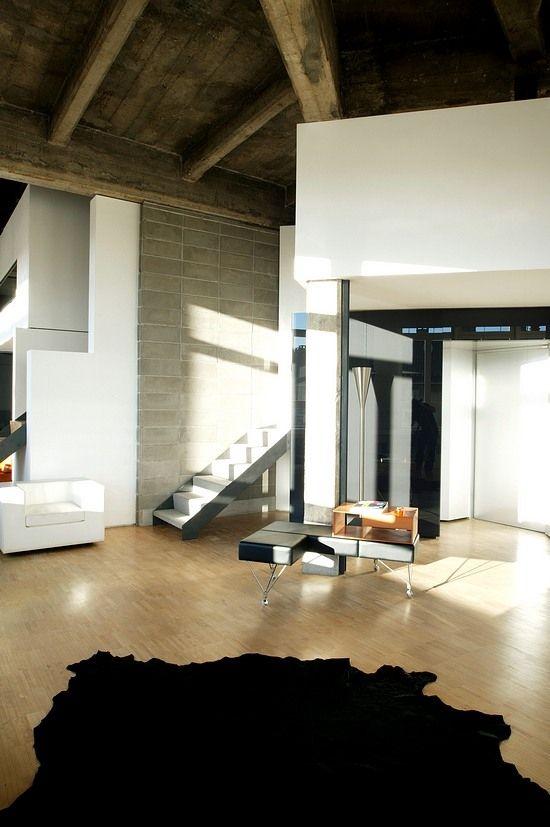Modern Minimalist Interior Design Loft Apartment In Torino Italia.