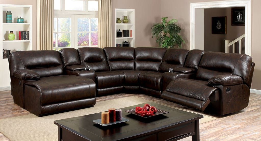 6 Pc Glasgow Ii Brown Breathable Leatherette Sectional Sofa With Recliners On The Ends Power Reclining Sectional Sofa Corner Sectional Sofa Contemporary Sectional Sofa