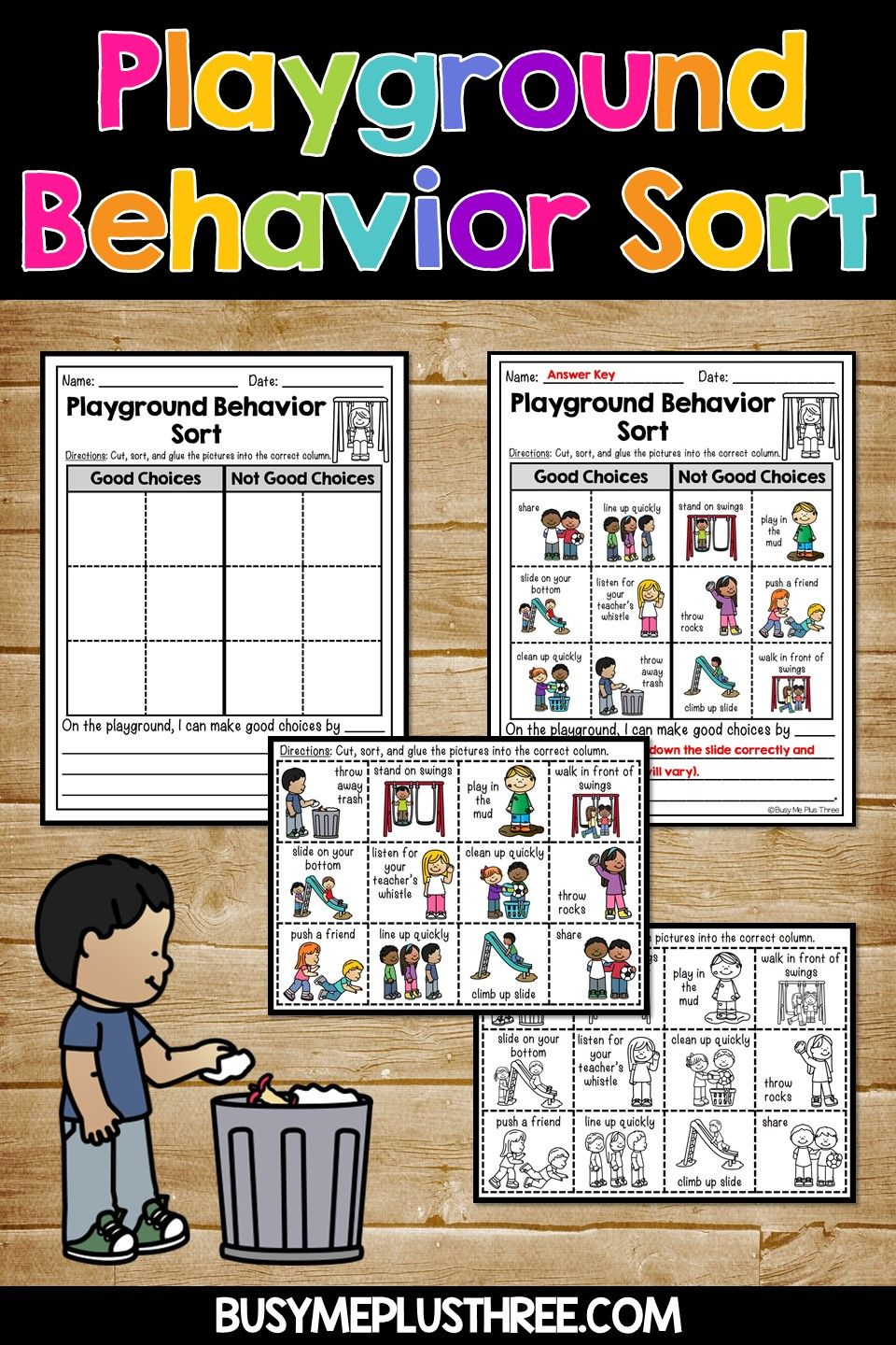 Recess Playground Good And Not Good Choices Sort Activities Playground Rules Sorting Activities Recess Rules [ 1440 x 960 Pixel ]