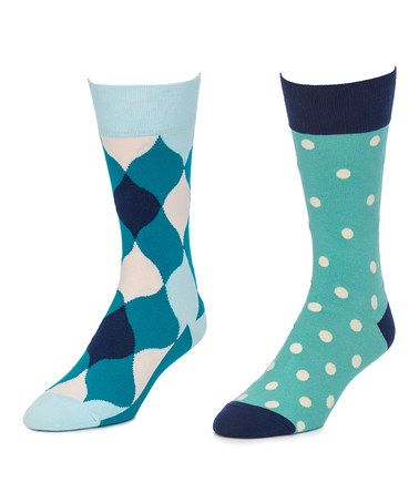 Another great find on #zulily! Blue & Turquoise Fairway-Carefree Two-Pair Socks Set #zulilyfinds