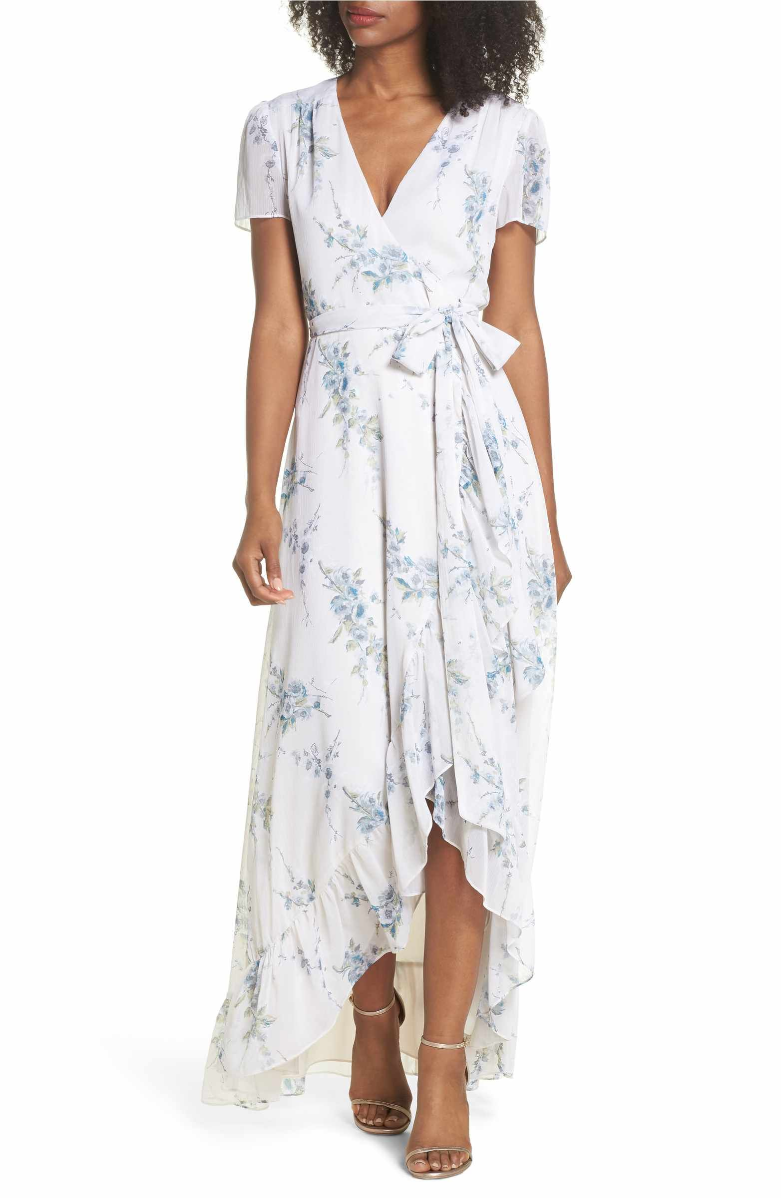 6ccf863eec Main Image - WAYF The Natasha Floral Wrap Maxi Dress White Ruffle Dress,  Wrap Dress