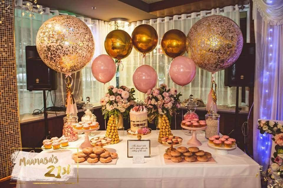 Event Inspiration Baby Pink Gold Fun And Glitter For A 21st Birthday Party Birthday Party 21 21st Birthday Decorations Gold Birthday Party