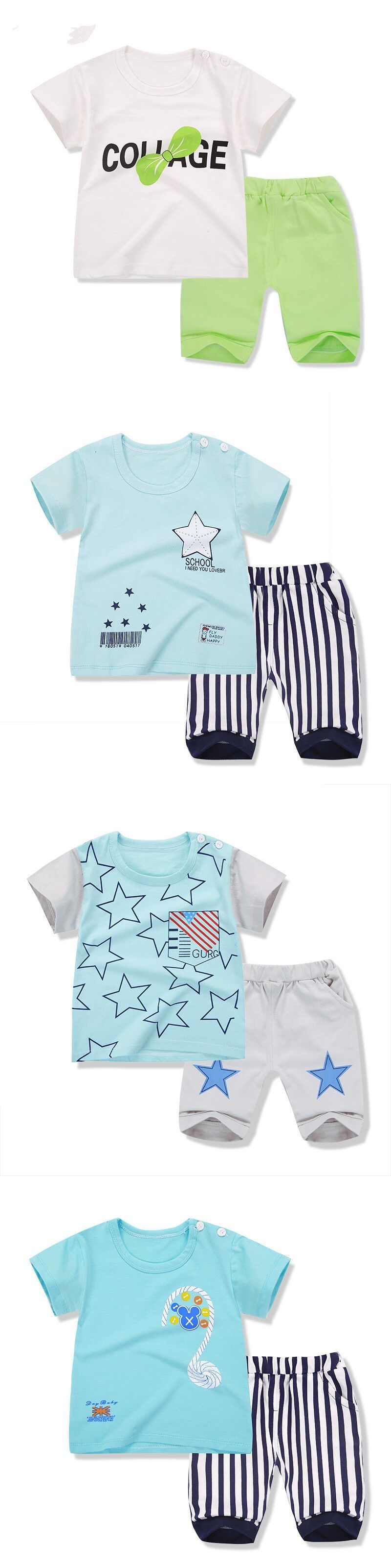 Baby boy clothes 2017 new cartoon casual cotton baby girls summer