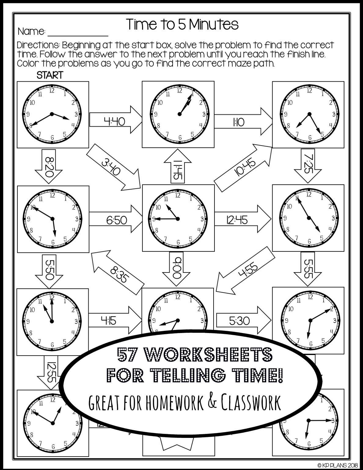Telling Time Worksheets No Prep   Time worksheets [ 1537 x 1188 Pixel ]