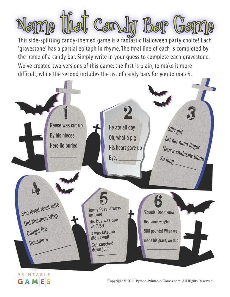Halloween: Name That Candy Bar Game, $6.95   Halloween Printable ...