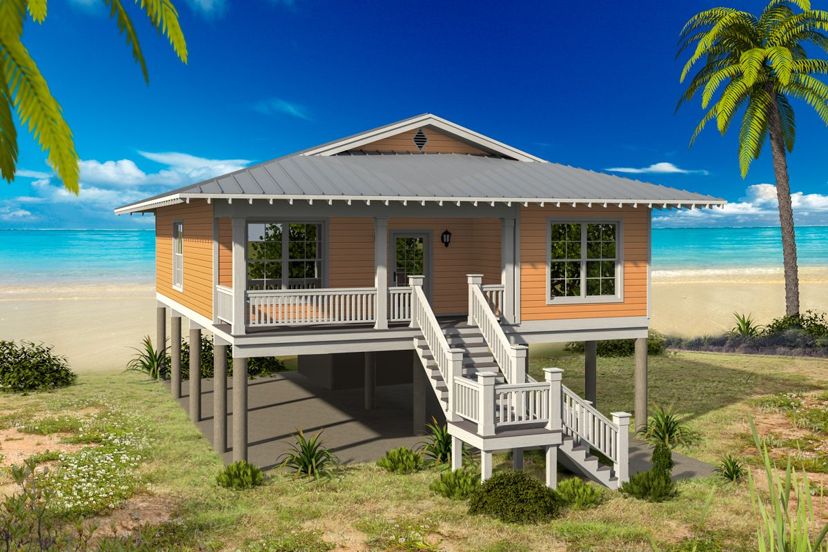 Plan 68568vr 3 Bed Beach Bungalow With Lots Of Options In 2021 Beach House Decor Beach Cottage Style Beach House Plans