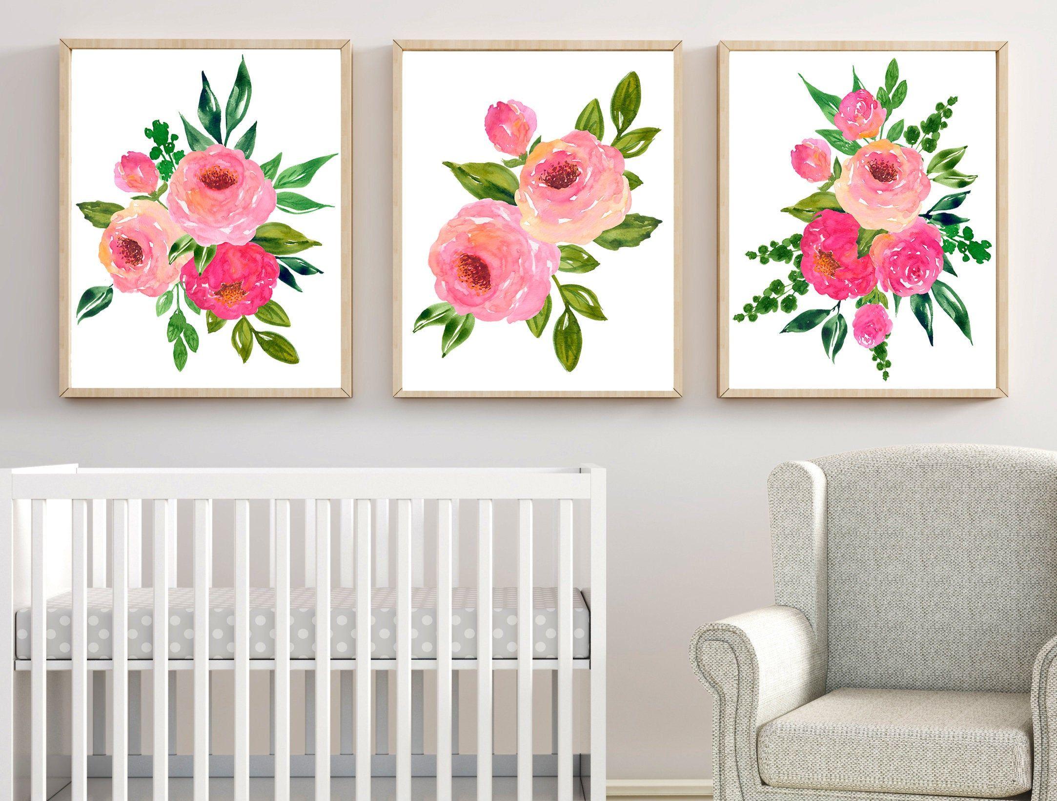 Watercolor Flower Wall Art Flower Art Prints Or Canvas Set Of