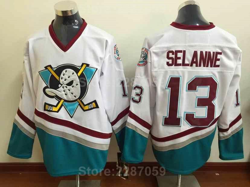 0d149ea6e1e Ediwallen Anaheim Mighty Ducks 13 Teemu Selanne 8 Ice Hockey Jerseys Red  White Green Purple Selanne