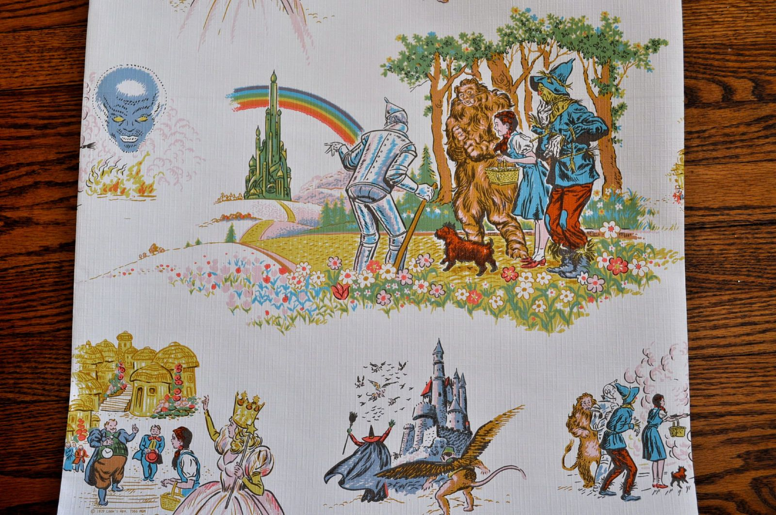 Two Full Rolls Of Vintage Wizard Of Oz Wallpaper 57 Sq Ft Each New